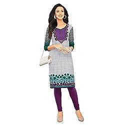 Stylish Girls Women Cotton Printed Unstitched Kurti Fabric (SND261_Purple_Free Size)
