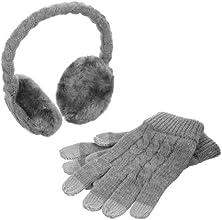 Kitsound Audio Ohrenschützer Ohrenwärmer mit Integrierten Lautsprechern und 3,5 mm Audiokabel sowie Touch Screen Handschuhe im Geschenkset für iPod, iPhone, iPad, Smartphone und MP3 Player - Grau
