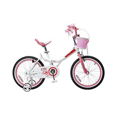 Royalbaby Jenny Princess Pink Girl's Bike with Training Wheels and Basket, Perfect Gift for Kids, 18 inch wheels