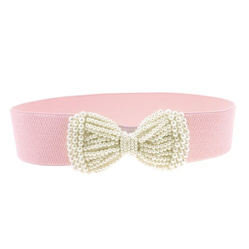 Woman Faux Pearl Bowknot Press Stud Button Stretchy Textured Waistband Cinch Belt