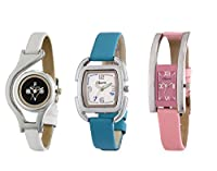 Oleva analog Leather Strap Women's Watch -Set of Three OVD 162