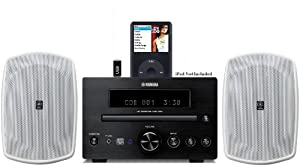 Yamaha Natural Sound Micro Home Theater Receiver Sound System with Integrated iPod Docking Station, High Quality CD Player, USB Port for Flash Drive & All Weather Indoor / Outdoor Speakers (Speakers are White) 50ft 16 AWG Speaker Wire Included by YAMAHA