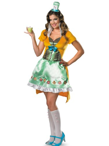 Sexy Mad Hatter Costume Yellow Dress Hat Alice In Wonderland Womens Theatrical