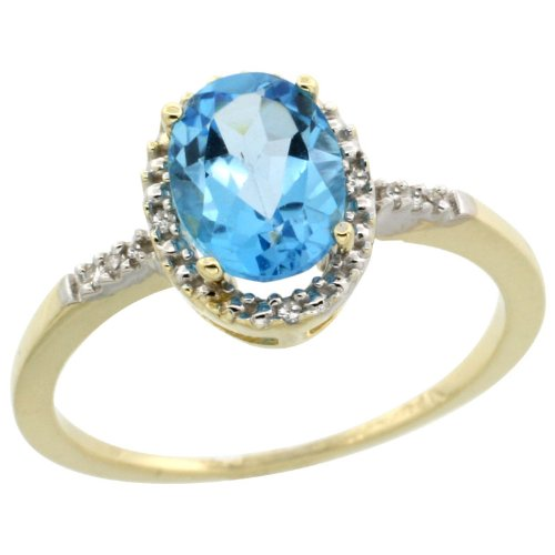 10k Gold ( 8x6 mm ) Halo Engagement Sky Blue Topaz Ring w/ 0.033 Carat Brilliant Cut Diamonds & 1.35 Carats Oval Cut Stone, 3/8 in. (10mm) wide, size 7