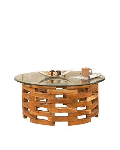 Jeffan Natura Round Open Slat Coffee Table, Natural