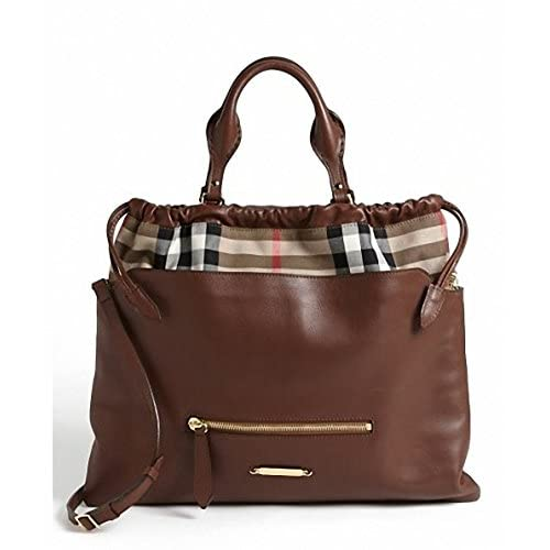 (バーバリー)Burberry 'Big Crush-House Check' Leather Tote{並行輸入品}{BIBIYON} (Dark Ochre)