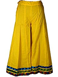 Shopatplaces Jaipuri Divided Skirt In Gold Yellow-DRKPS4JN10