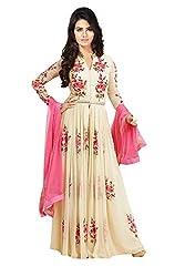 Janasya Women's Cream Embroidered Georgette Semi-Stitched Dress