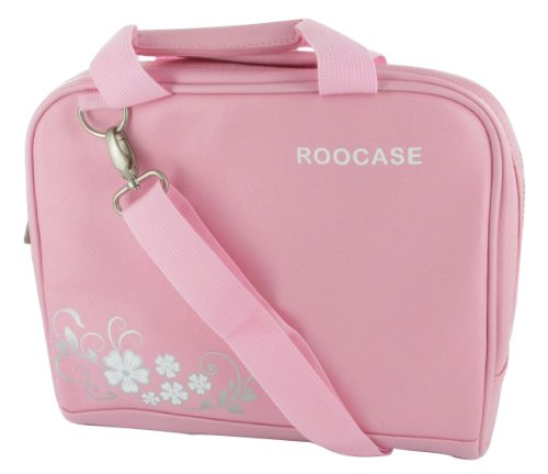 rooCASE Lenovo S10-2 10.1-Inch Black Netbook / iPad Carrying Bag with Shoulder Strap (Hawaiian Flower Design - Pink)