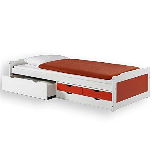 Lit fonctionnel avec rangements ANDREA, 90 x 200 cm pin massif lasuré blanc rouge