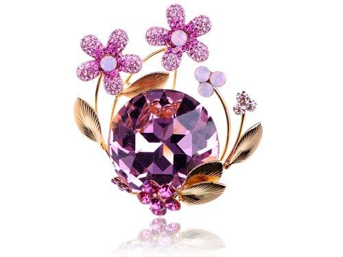 Gold Tone Rose Pink Flower Bouquet Orb Swarovski Crystal Rhinestone Pin Brooch