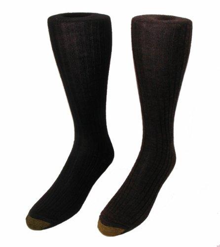 Gold Toe Men's Windsor Wool Over the Calf Socks - 3 Pack (Black)