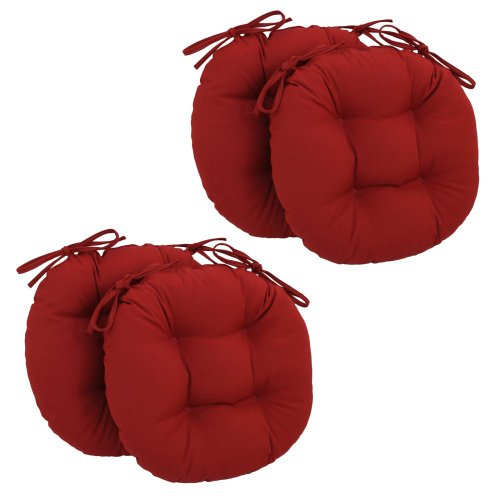 Blazing Needles 16 X 16 Round Twill Dining Chair Cushions With Ties - Set Of 4 front-481443