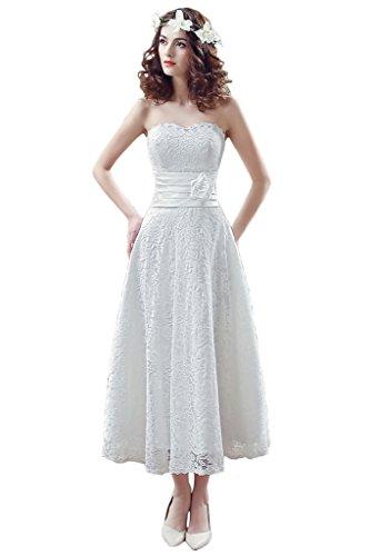 9836ccf36cd6 Audrey Bride Woman's Lovely Bridesmaid Dresses Lace Tea Length Bridal Dress -17W-Ivory