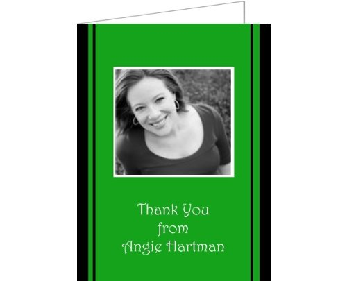Green & Black Stripes Baby Shower Thank You Cards - Set Of 20