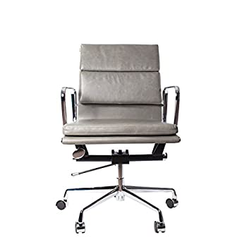 Vintage Grey Premier Leather Soft Pad Executive Management Office Replica Chair Swivel and Polished Aluminium Frame - Low Back