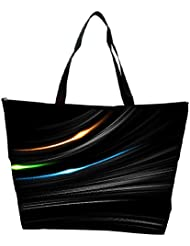 Snoogg Multicolor Light In Black Background Designer Waterproof Bag Made Of High Strength Nylon