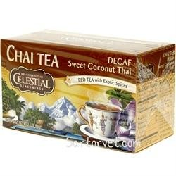 Celestial Seasonings Chai, Sweetened Coconut Thai, Dcf 20-Count (Pack Of 6)