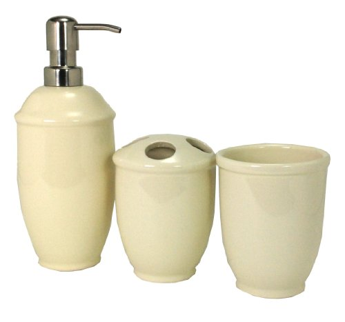 Nuvo Design 3-Piece Roma Ceramic Bath Set, Ivory