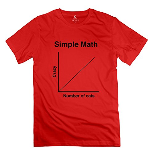 Lvhuan Mens Simple Math Crazy Cats Tshirts M Red