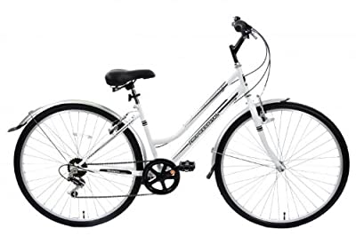 "Cheapest Metropolitan Ladies Hybrid City Bike Upright Riding Postion 6 Speed 16"" Frame White"