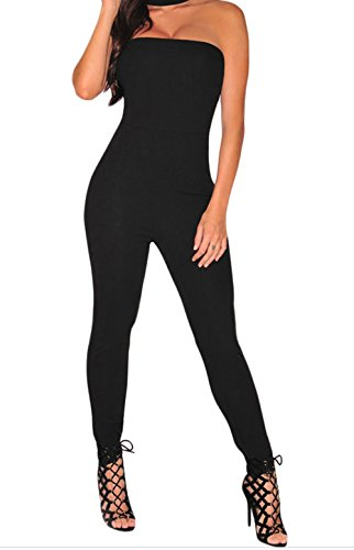 [Cyber Monday TomYork Strapless Choker Jumpsuit(Black,S)] (Sexy Halloween Cost)