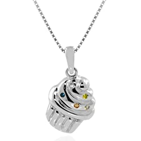Sterling Silver Multi-Colored Diamond Cupcake Pendant, 18""