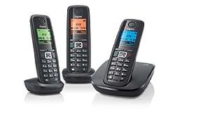 Gigaset Siemens A510 Trio Téléphone sans fil DECT 2 combinés supplémentaires Noir