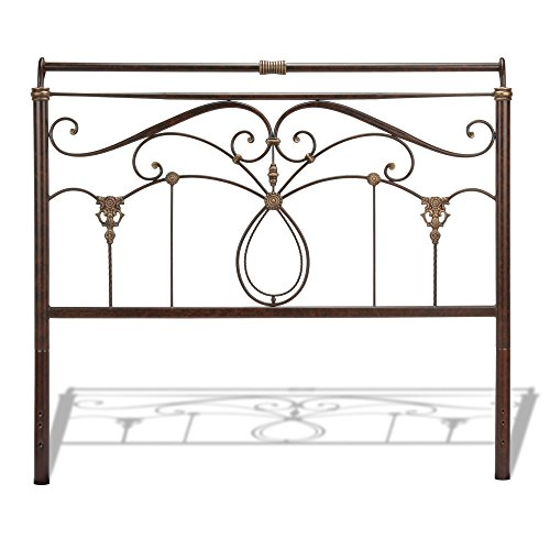 Fashion Bed Group Lucinda Metal Headboard with Intricate Scrollwork and Sleighed Top Rail Panel, Marbled Russet Finish, Queen