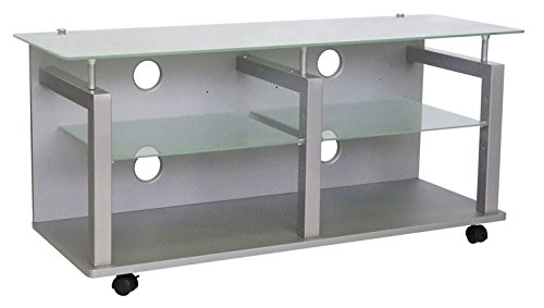 RD INTERNATIONAL - Porta TV in struttura nera con piani in vetro e ruote LCD120 L120h54p42cm