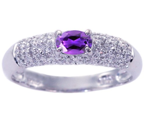 14K White Gold Petite Oval Gemstone and Diamond Promise Ring-Amethyst, size5.5