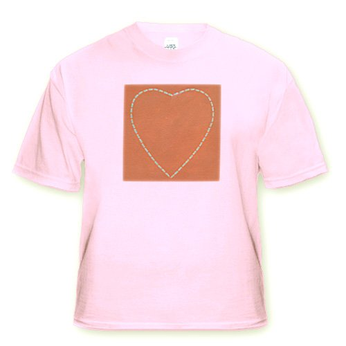 Turquoise Heart on Terra Cotta - Adult Light-Pink-T-Shirt Large