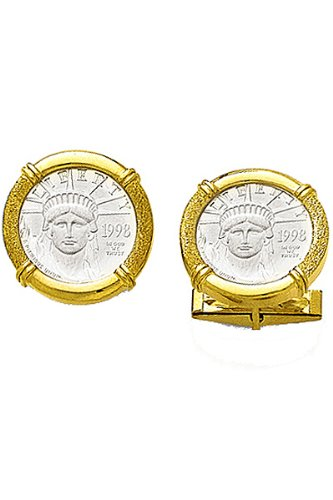 14k Gold Cufflinks with Platinum Coin