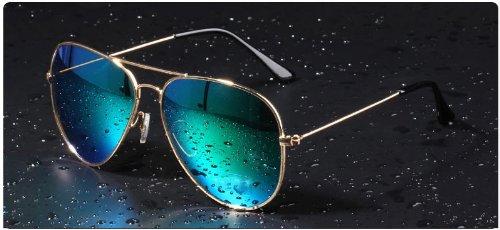 Mode Sonnenbrille für Damen und Herren,reflektierende Sonnenbrille,Gradientfarben (gold+blau)