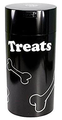 Pawvac 24 Ounce Vacuum Sealed Pet Food Storage Container; Black Cap & Body/White Treats