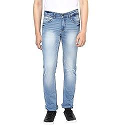 Turtle Men's Sky Blue Low Rise Slim Fit Jeans