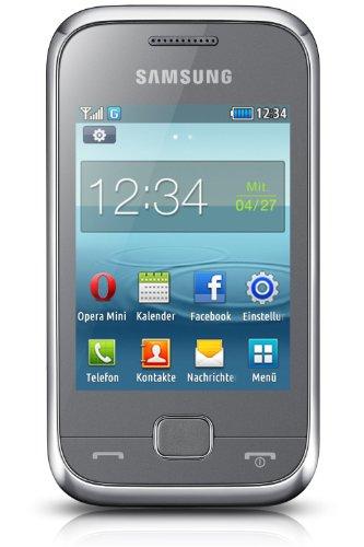 Samsung REX60 Smartphone (7,1 cm (2,8 Zoll) Touchscreen, 1,3 Megapixel Kamera, 30MB interner Speicher, micro-USB) silber