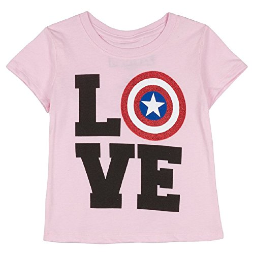 Marvel Little Girls' Captain America Love Shield Tee