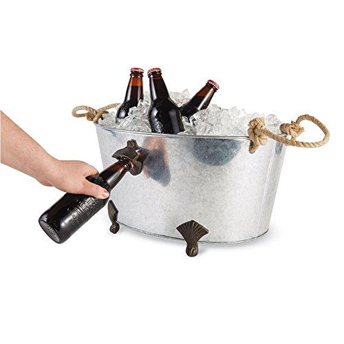 mud pie 4865011 footed bottle opener beverage tub ice bucket silver arts entertainment party. Black Bedroom Furniture Sets. Home Design Ideas