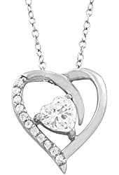 Sterling Silver Cubic Zirconia Birthstone Heart Necklace (18 inch)