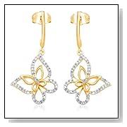 Yellow Gold Diamond Butterfly Earrings
