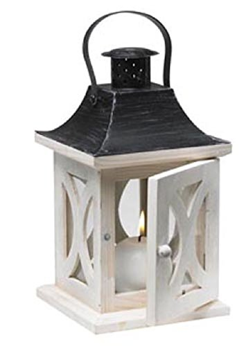 Biedermann & Sons Wood Lantern Candle Holder, Antique White