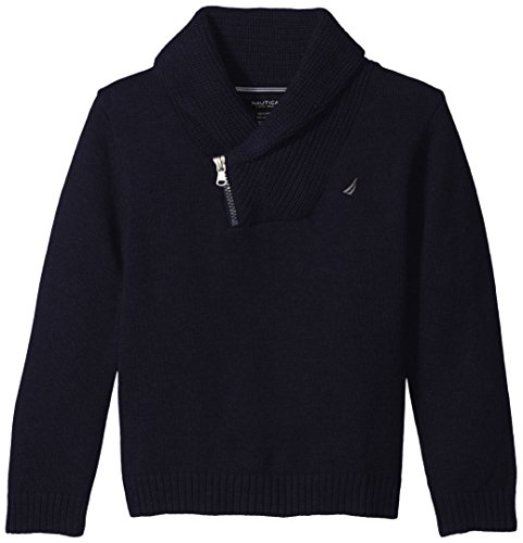 Nautica Little Boys' Zip Shawl Neck Sweater with Half Milano Stitch, Sport Navy, Medium