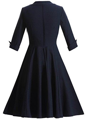 OWIN Women's Retro Deep-V Neck Half Sleeve Vintage Casual Swing Dress Party Dress ,Navy Blue ,Medium