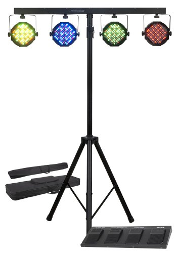 American Dj Supply Mega Par Profile System Bright Led Stage Wash Light System Rgb Color Mixing With Stand/Case/Foot Controller