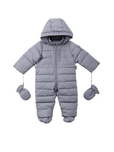 Oceankids Baby Boys Girls Grey Pram One-Piece Snowsuit Attached Hood 6M 3-6 Months