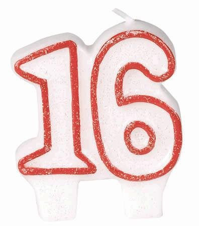 "Amscan Classic No.16 Glittery Birthday Candle, White/Red, 2.75"" x 2.4"""