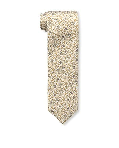 Isaia Men's 7-Fold Silk Tie, White/Gold