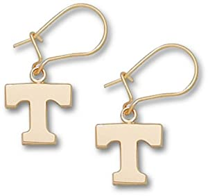 Tennessee Volunteers 3 8 Power T Dangle Earrings - 14KT Gold Jewelry by Logo Art