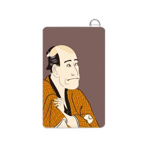 パスケース まもるくん リール付き パスケース リール ICカードケース 定期入れ 2921浮世絵 ( 石部金吉 ) レザー風白ベース